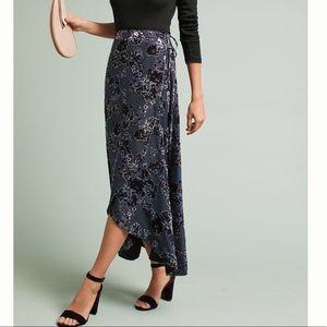 Anthropologie 🌸 Velvet Wrap Silk Skirt